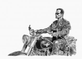 обоя рисованное, кино, мужчина, фон, очки, мотоцикл