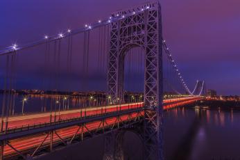 обоя george washington bridge, города, - мосты, ночь, огни