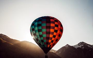 обоя авиация, воздушные шары, горы, шар