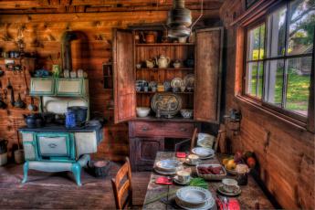 Картинка интерьер кухня посуда плита шкаф деревня