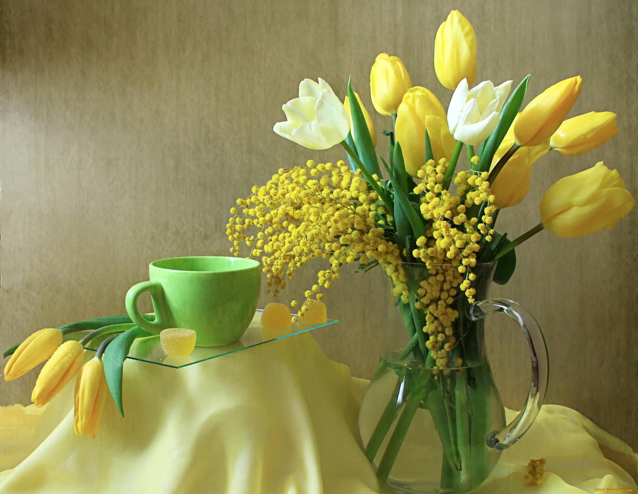 Открытки 8 марта мимоза и тюльпаны