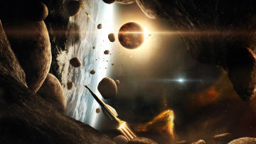 Картинка космос арт астероиды планета галактики