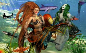 Картинка 3д+графика существа+ creatures рыбы русалки море