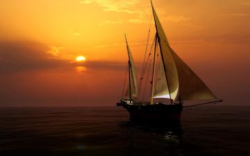 Картинка 3д+графика море+ sea закат горизонт небо яхта паруса 3d море