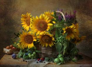 обоя еда, натюрморт, подсолнух, цветы, слива, яблоко