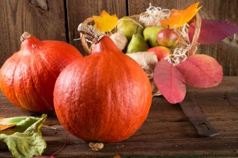 обоя еда, фрукты и овощи вместе, корзинка, груши, тыква, дары, осени