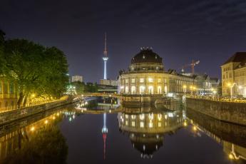 обоя города, берлин , германия, телебашня, панорама