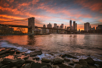 обоя manhattan, города, нью-йорк , сша, панорама, мост