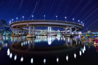 обоя rainbow bridge at shibaura wharf,  tokyo, города, токио , Япония, огни, ночь, мост, река