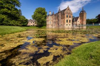 обоя kasteel ruurlo, города, замки нидерландов, замок, пруд, парк