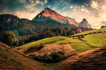 обоя природа, горы, обработка, toggenburg, switzerland, дома