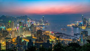 обоя hong kong victoria harbour, города, гонконг , китай, панорама