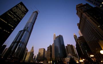 обоя города, нью-йорк , сша, огни, небоскребы, здания, дома, небо