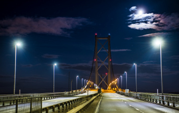 обоя forth road bridge, города, - мосты, мост, огни, ночь