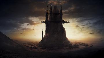 обоя фэнтези, замки, закат, замок, арт