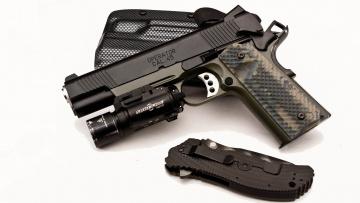 обоя оружие, пистолеты, m1911, кобура, springfield, нож, surefire, 45, operator, armory, пистолет, сша
