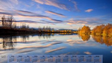 обоя календари, природа, отражение, облака, деревья, 2018, водоем