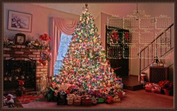 обоя календари, праздники,  салюты, ёлка, праздник