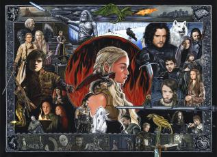 обоя рисованное, кино, девушка, фон, дракон, мужчина