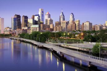 обоя города, - панорамы, филадельфия, дома, небоскребы, мост, сша, утро