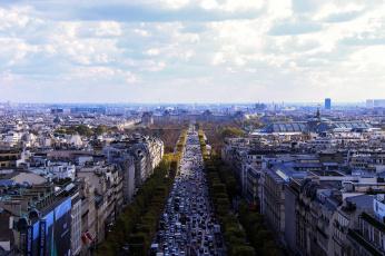 обоя города, париж , франция, дома, движение, улица, панорама