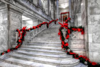 обоя интерьер, холлы,  лестницы,  корридоры, праздник, гирлянды, мраморная, лестница