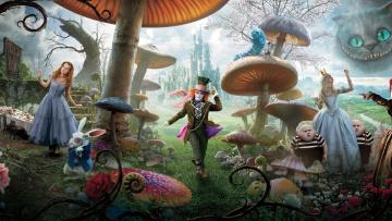 Картинка кино+фильмы alice+in+wonderland кролик кот гусеница королева шляпник грибы страна Чудес алиса