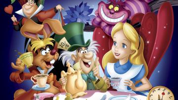 обоя мультфильмы, alice in wonderland, персонажи
