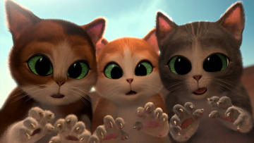 обоя мультфильмы, puss in boots,  the three diablos, котята