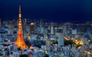 обоя города, париж , франция, вечер, панорама