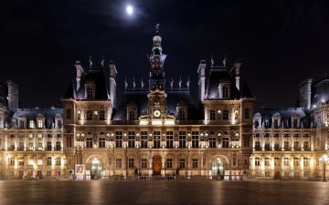 обоя hotel de ville, города, париж , франция, hotel, de, ville