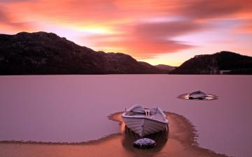 обоя корабли, лодки,  шлюпки, снег, горы, озеро