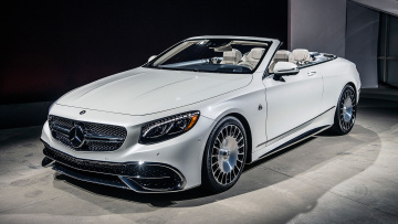 обоя maybach- mercedes s650 cabriolet 2018, автомобили, mercedes-benz, s650, maybach-, mercedes, белый, 2018, cabriolet