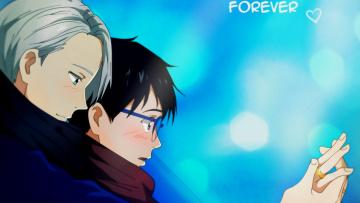 обоя аниме, yuri on ice, юрий, катсуки, виктор, никифоров, парни, романтика, кольца