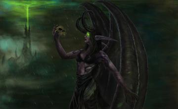 обоя фэнтези, демоны, девушка, фон, крылья, рога, тату, череп