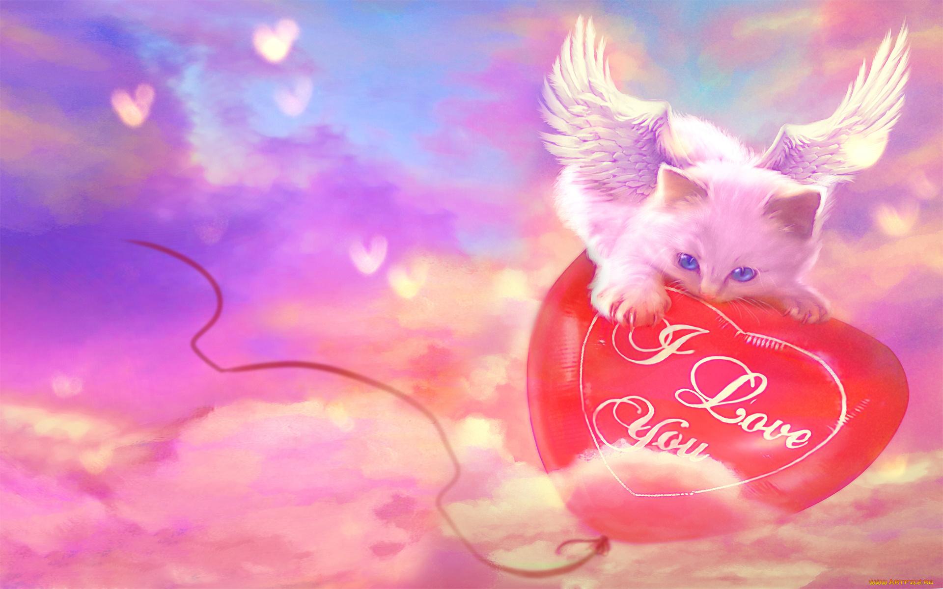 Открытки с сердечками и котятами, днем рождения