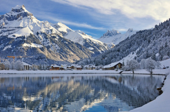 Картинка engelberg switzerland города пейзажи энгельберг водоём зима горы швейцария