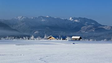 Картинка природа зима поле дома туман