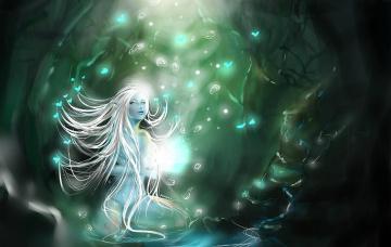 Картинка фэнтези эльфы эльфийка девушка сидит бабочки пузырьки
