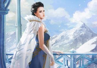 Картинка фэнтези девушки горы платье девушка взгляд лицо арт холод снег перчатки
