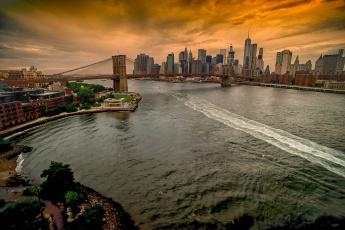обоя brooklyn bridge, города, нью-йорк , сша, пролив, мост