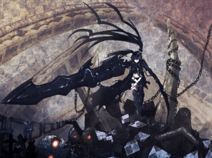 Картинка аниме black+rock+shooter оружие девушка yazuo