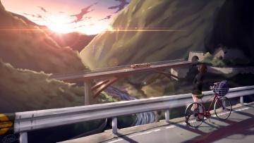Картинка аниме город +улицы +здания закат велосипед девушка поезд мост dreadtie