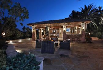обоя интерьер, веранды,  террасы,  балконы, пальмы, терраса, кресла, очаг