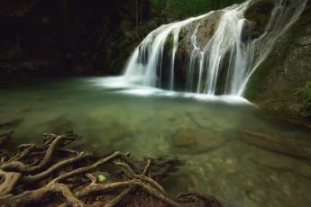 обоя природа, водопады, поток, скала