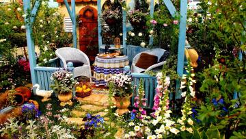 обоя интерьер, веранды,  террасы,  балконы, цветник, беседка