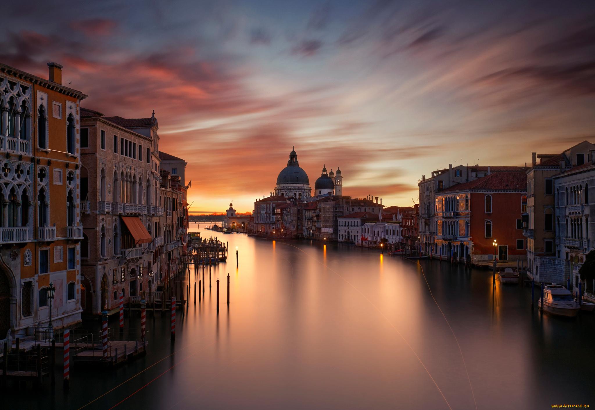Открытка ночная венеция