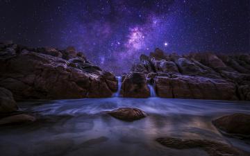 Картинка природа реки озера океан ночь западная австралия млечный путь камни скалы небо