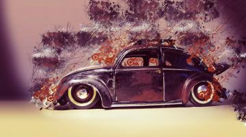 обоя рисованное, авто, мото, ретро, машина, beetle, volkswagen