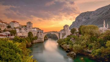 обоя mostar,  bosnia, города, - панорамы, мост, река